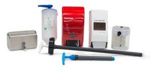 dosificadores para jabón y amplia gama de dispensadores para líquido, en polvo, gel, crema o pasta.
