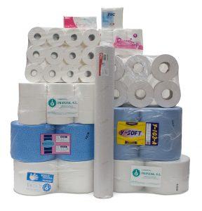 Rollos de papel para el sector de la limpieza, restauración, hospitalario y colectividades.