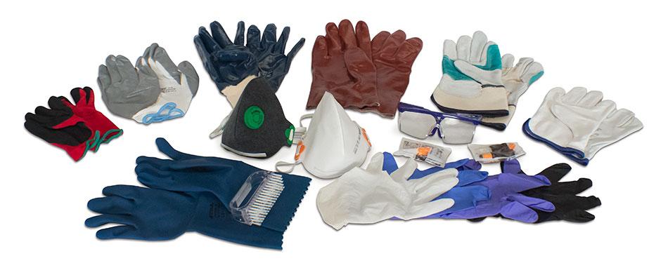 guantes de seguridad, antifrío, anticorte, anticalor, para riesgos químicos o mecánicos, etc.